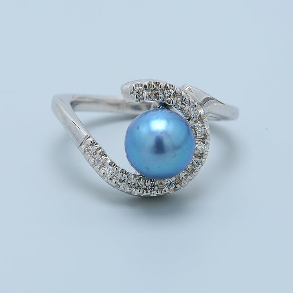 14k White Gold Diamond Ring with Blue Pearl - 1477 Jewelers