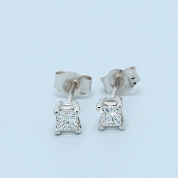 Classic White Gold Princess Diamond Studs - 1477 Jewelers