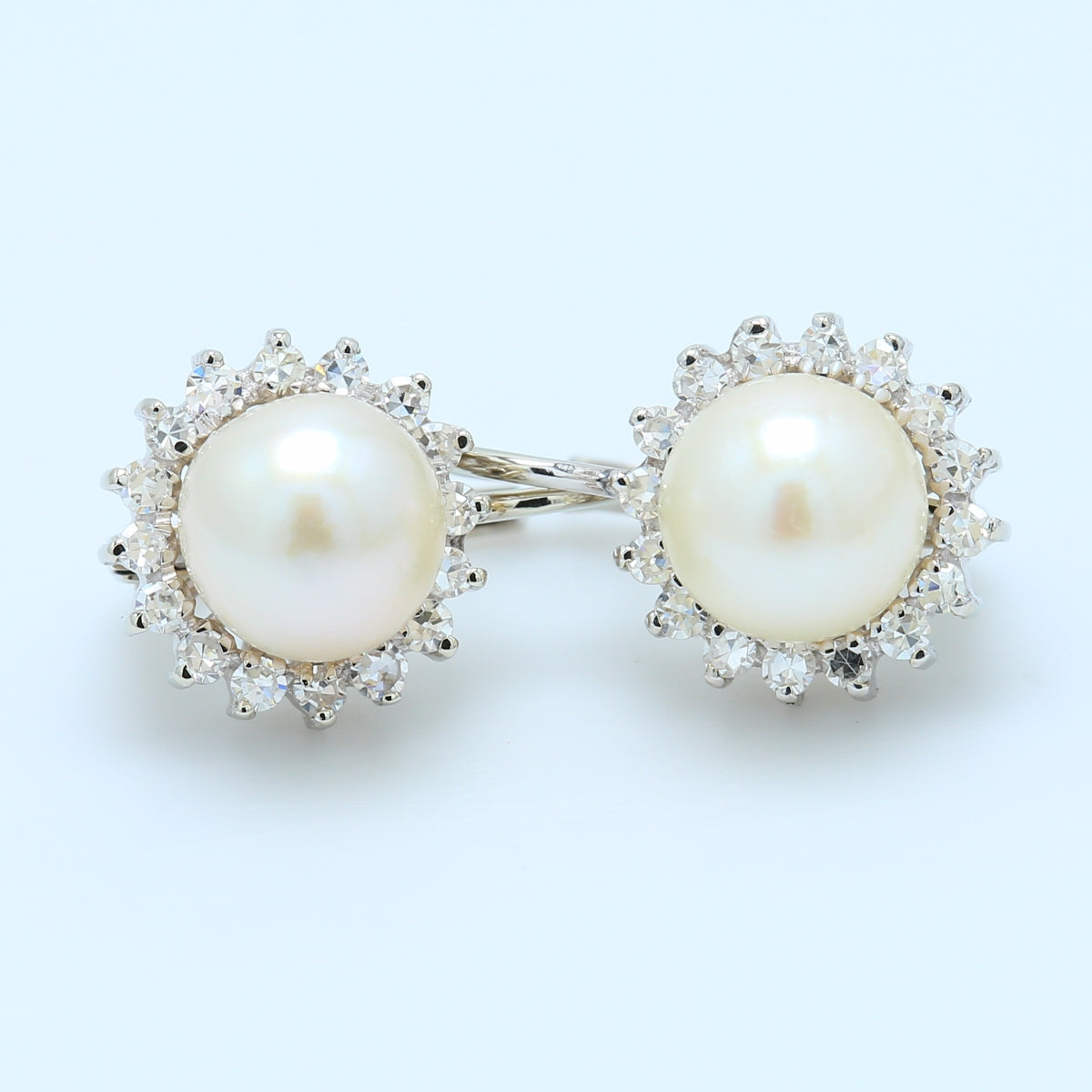 Precious 18k White Gold Pearl and Diamond Halo Lever-back Earrings