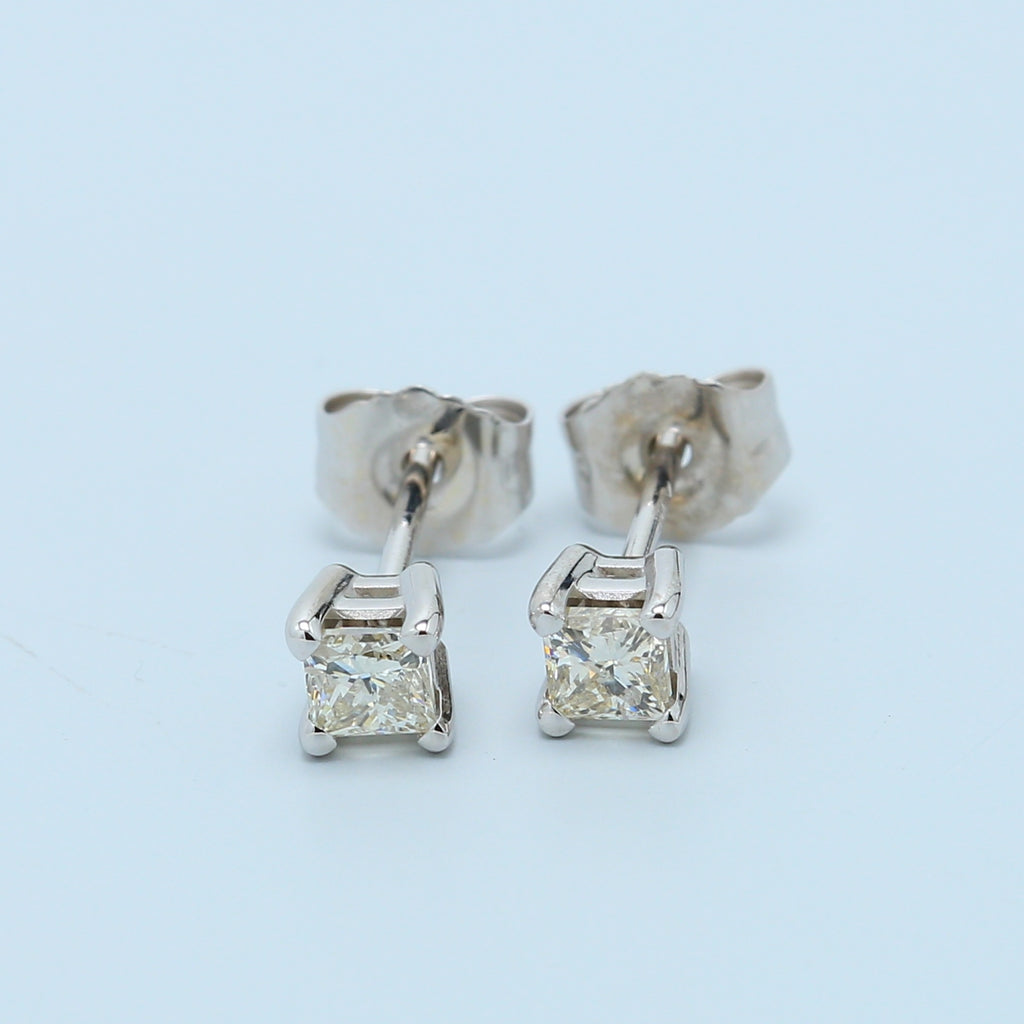 1/5 Carat Princess Diamond Stud Earrings in White Gold - 1477 Jewelers
