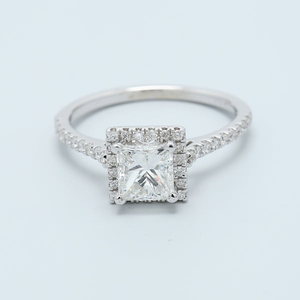 1 Carat Princess Halo Engagement Ring - 1477 Jewelers