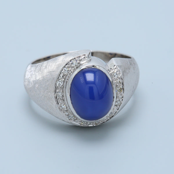 Cabochon Lab Created Star Sapphire and Diamond Ring with Satin Finish 14K White Gold - 1477 Jewelers