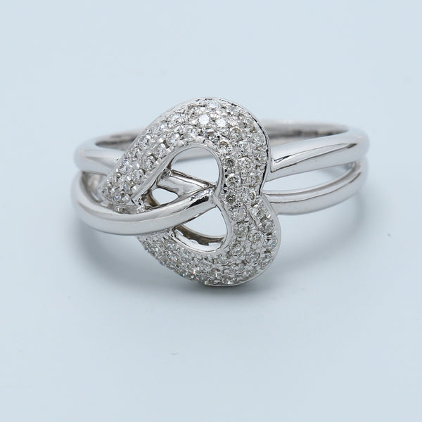 Diamond Pave Heart Cross Over Crisscross Ring in 14k White Gold - 1477 Jewelers