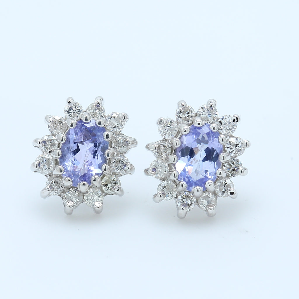 Lavender Oval Tanzanite and Diamond Halo Stud Earrings - 1477 Jewelers
