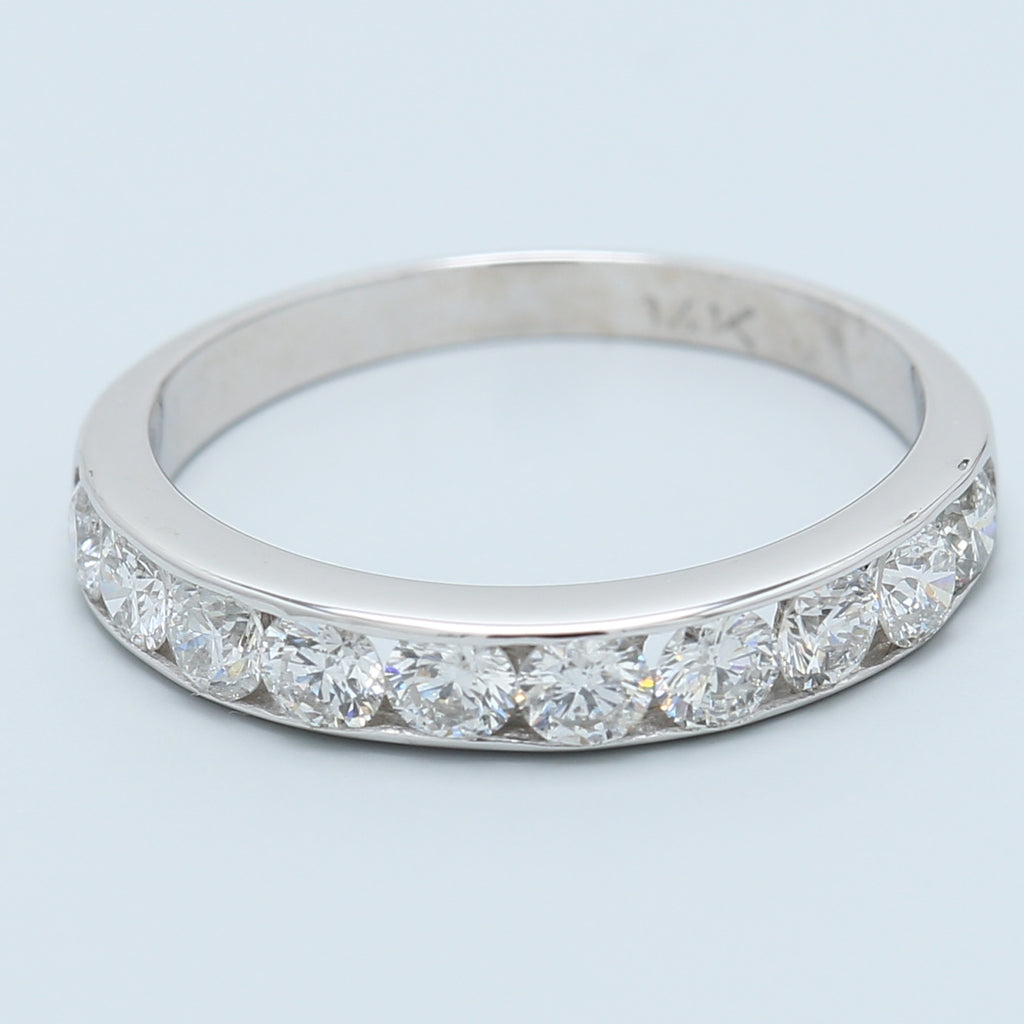 0.70ctw 10 Diamond Channel Set Band in 14k White Gold - 1477 Jewelers