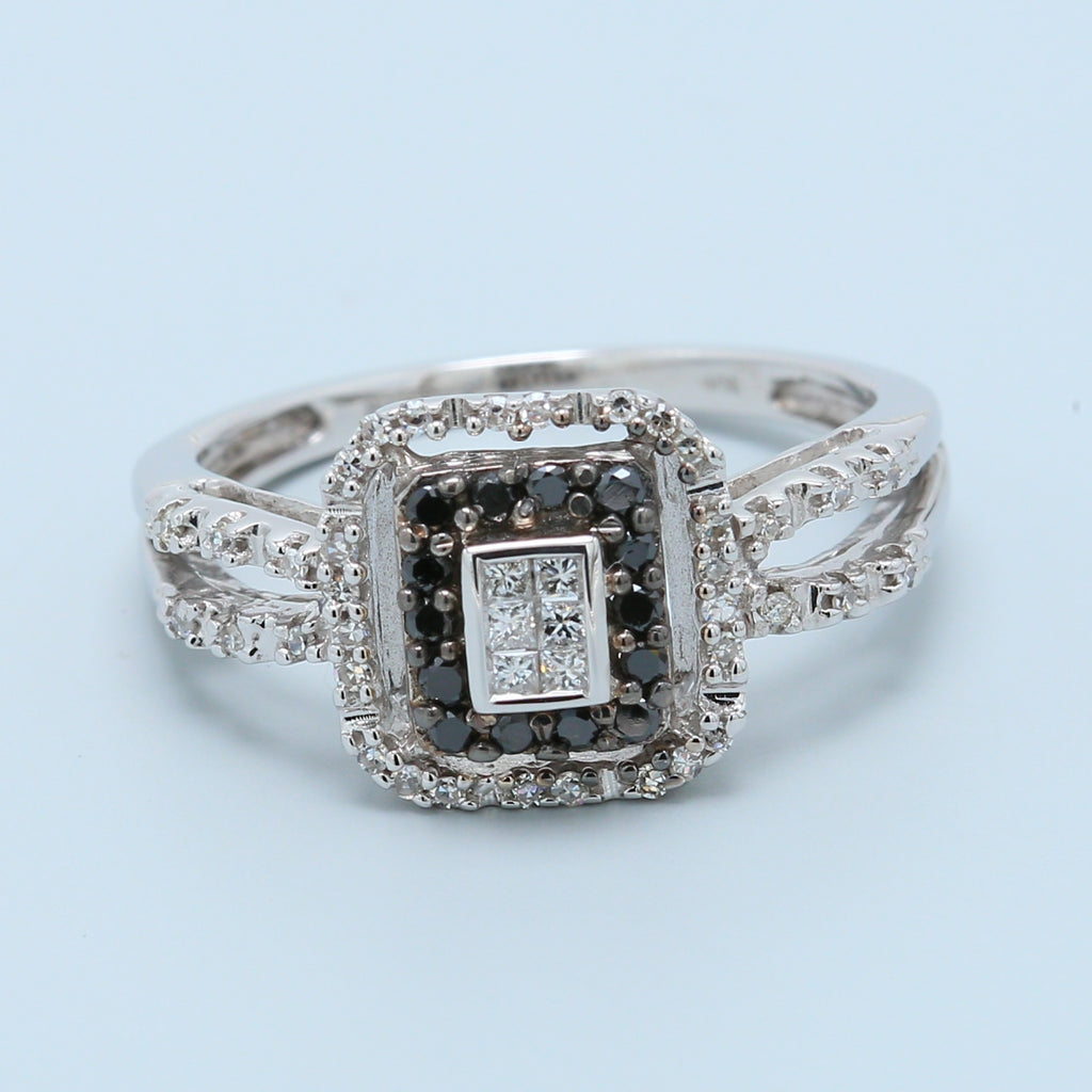 Glittering Black and White Diamond Ring with Split Shank