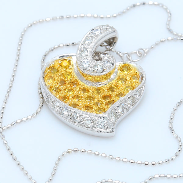 Yellow Sapphire and White Diamond Two Toned Heart Pendant Necklace - 1477 Jewelers