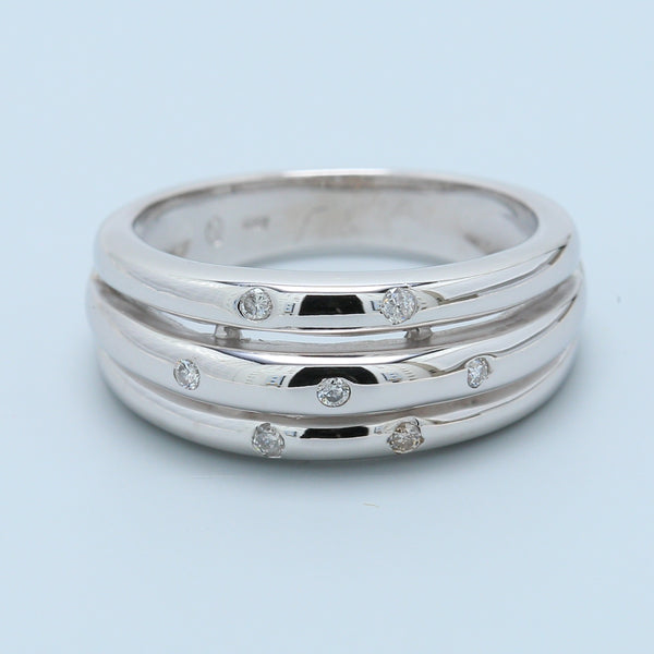 Layered 14k White Gold Band with Diamonds - 1477 Jewelers