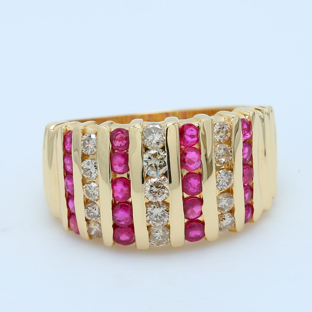 Stunning Ruby and Diamond Band in 14k Yellow Gold - 1477 Jewelers