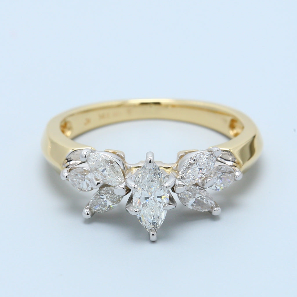 Marquise Diamond With Six Marquise Diamonds Floral Design 14k Yellow Gold Ring - 1477 Jewelers