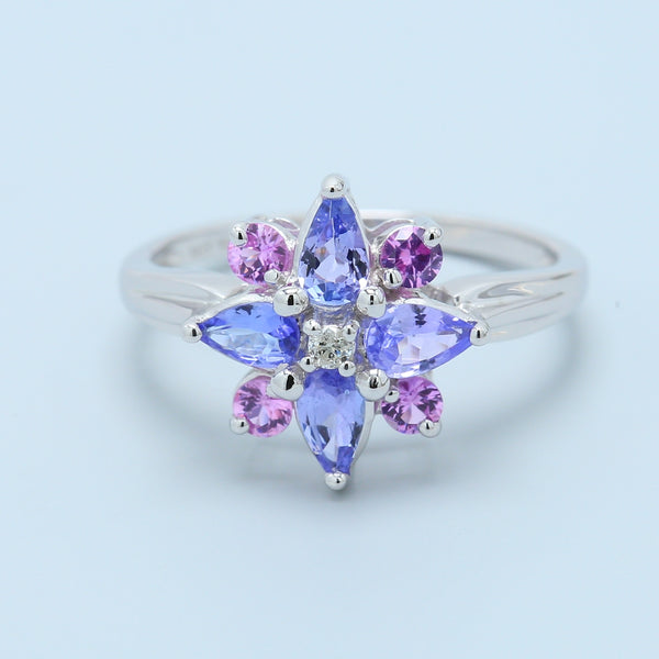 Precious Tanzanite and Pink Sapphire Flower Ring - 1477 Jewelers