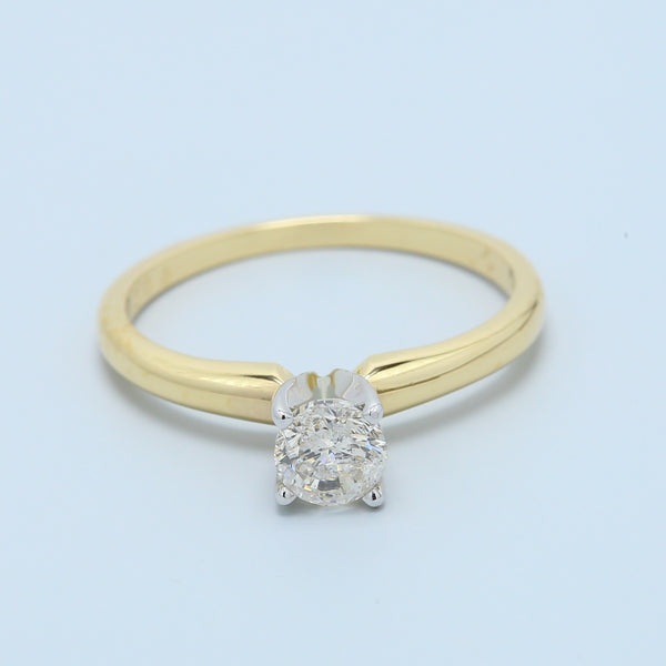 Brilliant Round Diamond Solitaire Engagement Ring in Two Tone 14k Gold - 1477 Jewelers