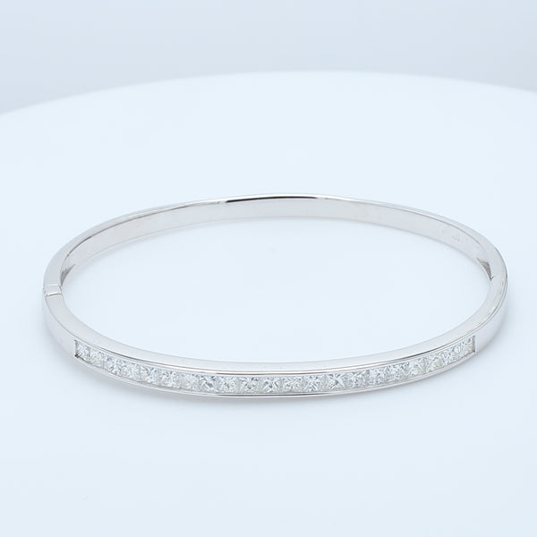 Stunning Princess Diamond 18k Bangle - 1477 Jewelers