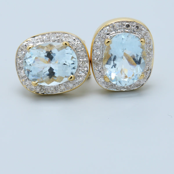 Aquamarine and Diamond Halo French Clip Earrings - 1477 Jewelers