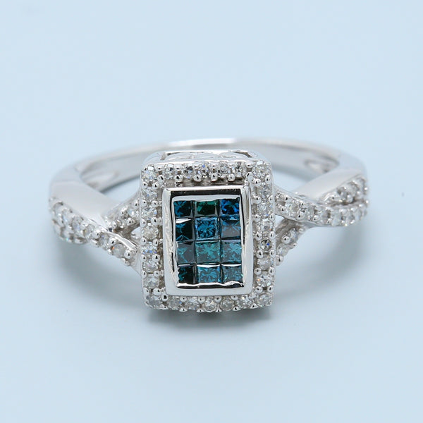 Invisible Set Princess Cut Blue Diamond with Round Diamond Halo Quad Ring - 1477 Jewelers