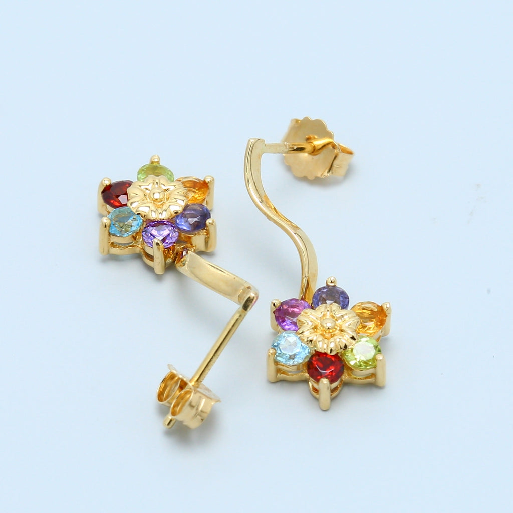 Multicolored Gemstone Dangle Earrings - 1477 Jewelers