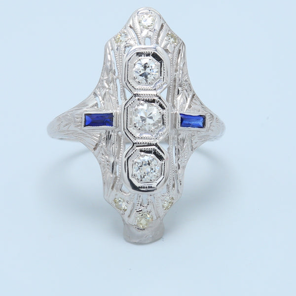 "Antique Diamond and Sapphire ""North to South"" 18k White Gold Ring - 1477 Jewelers"