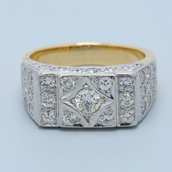 Men's 14k Yellow Gold Diamond Ring - 1477 Jewelers