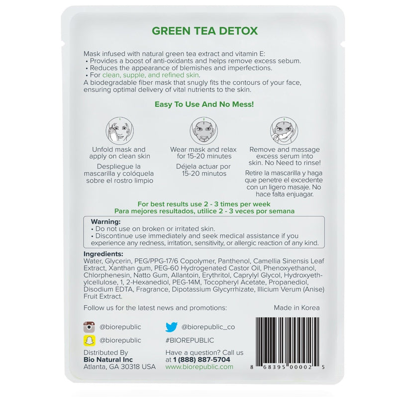 Green Tea Detox Purifying Sheet Mask - Box of 10 Sheet Mask BioRepublic