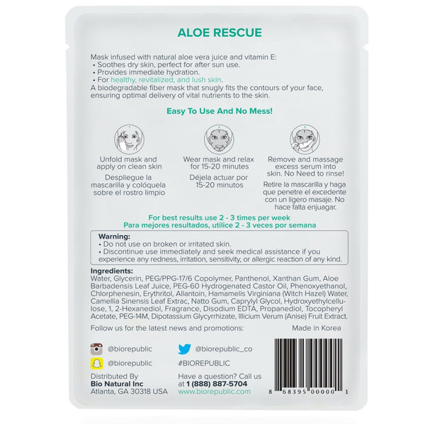 Aloe Rescue Revitalizing Sheet Mask Máscara de hoja BioRepublic