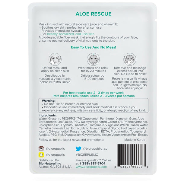 Aloe Rescue Revitalizing Sheet Mask - Box of 10 Sheet Mask BioRepublic
