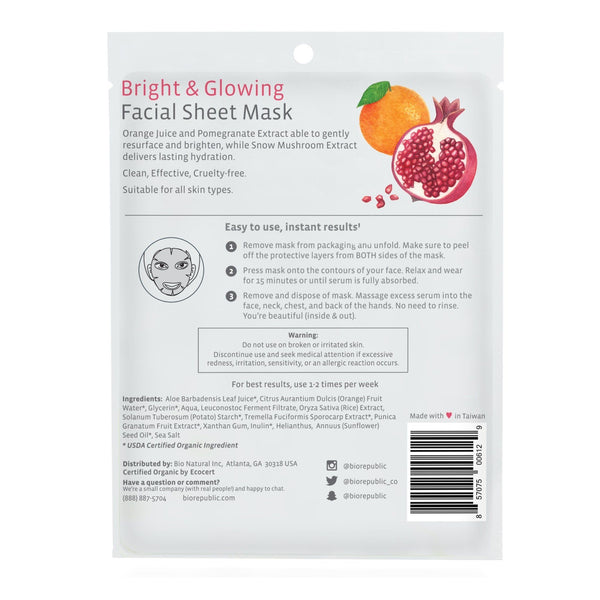 Bright and Glowing Organic Facial Sheet Mask Sheet Mask BioRepublic
