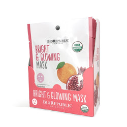 Bright and Glowing Organic Facial Sheet Mask Box of 12 Sheet Mask BioRepublic