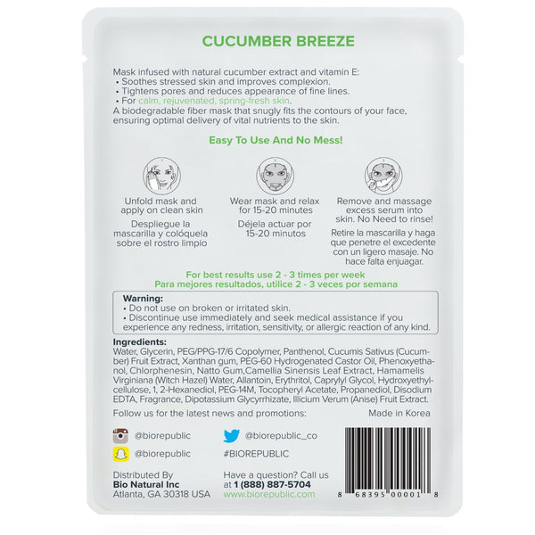 Cucumber Breeze Apaisant Masque Feuille Masque Feuille BioRepublic