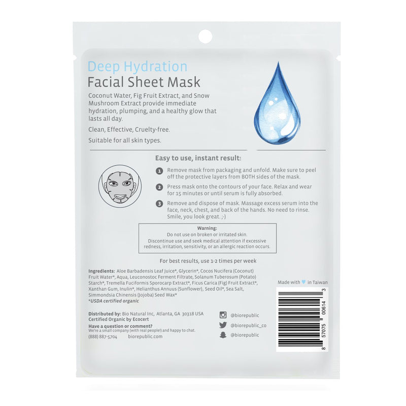 Deep Hydration Organic Facial Sheet Mask Sheet Mask BioRepublic