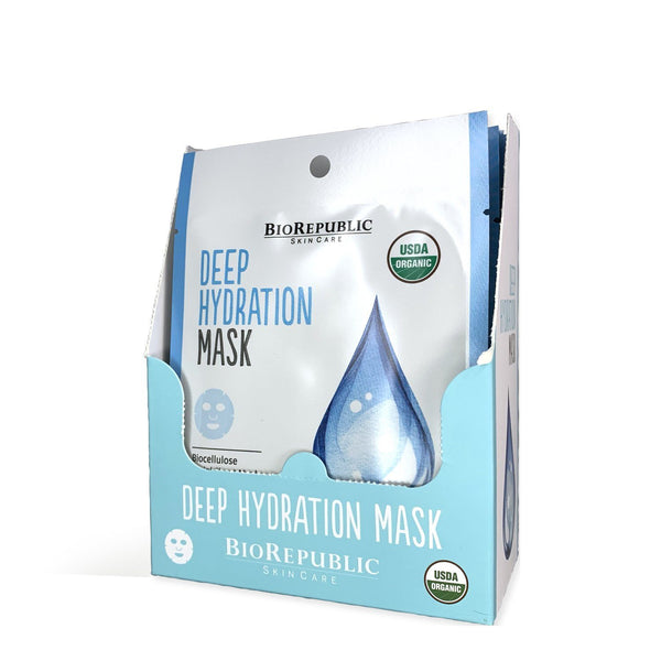 Deep Hydration Organic Facial Sheet Mask Box of 12 Sheet Mask BioRepublic