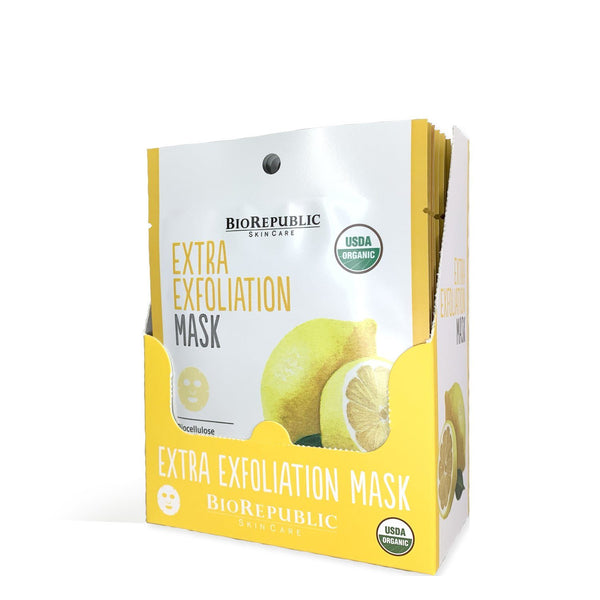 Extra Exfoliation Organic Facial Sheet Mask Box of 12 Sheet Mask BioRepublic