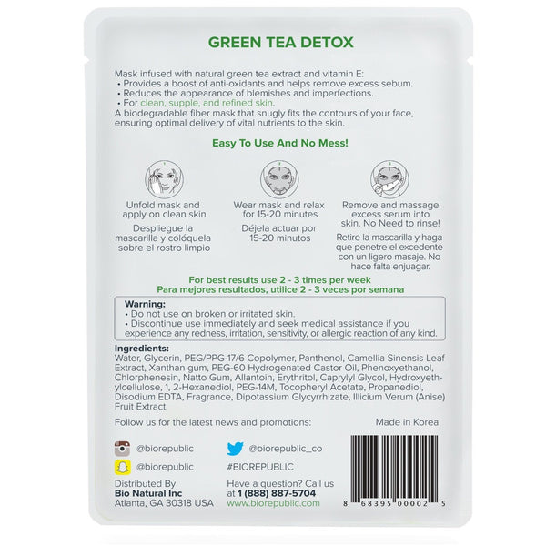 Green Tea Detox Purifying Sheet Mask Masque en feuille BioRepublic