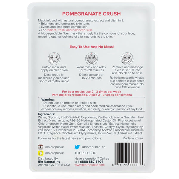 Grenade Crush Illuminating Sheet Mask Masque en feuille BioRepublic