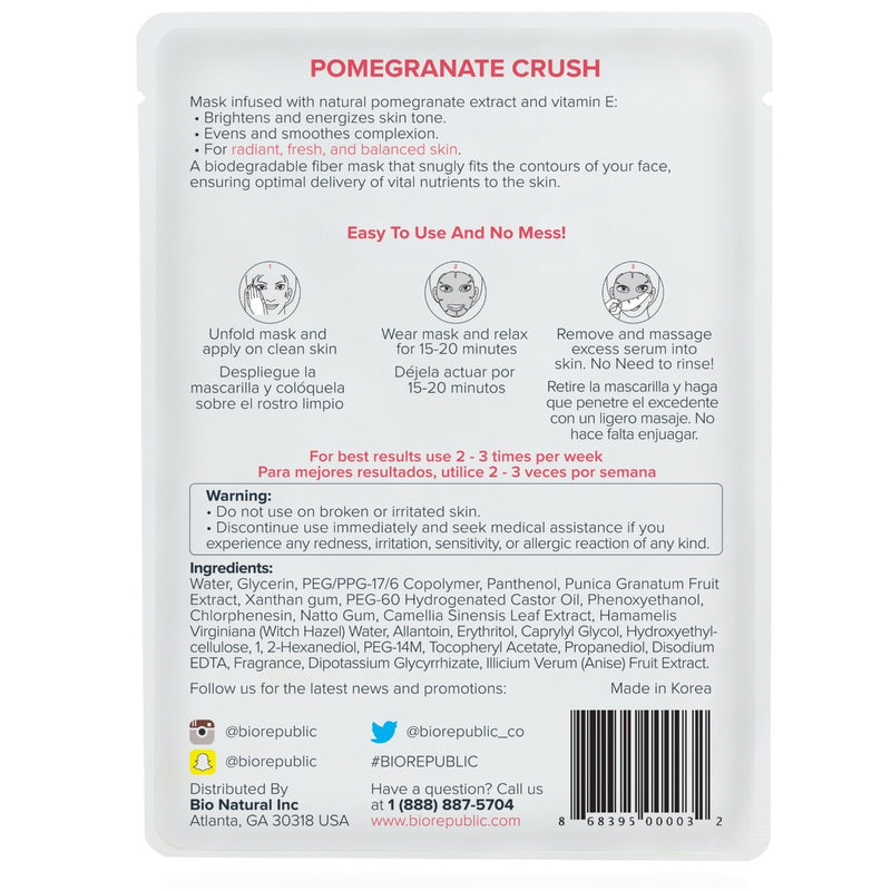 Pomegranate Crush Illuminating Sheet Mask - Set of 3 Sheet Mask BioRepublic