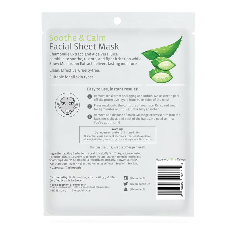 Soothe and Calm Organic Facial Sheet Mask Sheet Mask BioRepublic