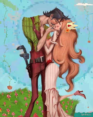 The Mushroom Kiss Print by Jose Emroca Flores