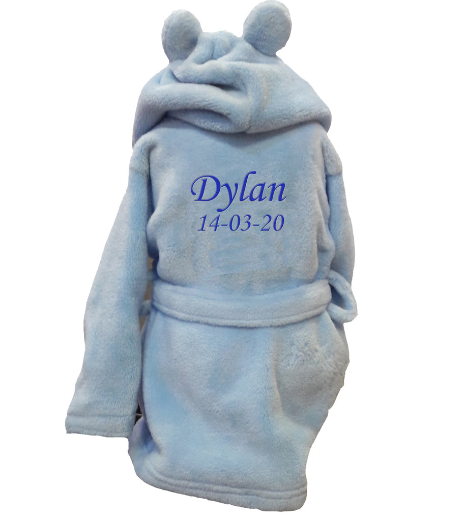 Personalised Blue Baby Bathrobe