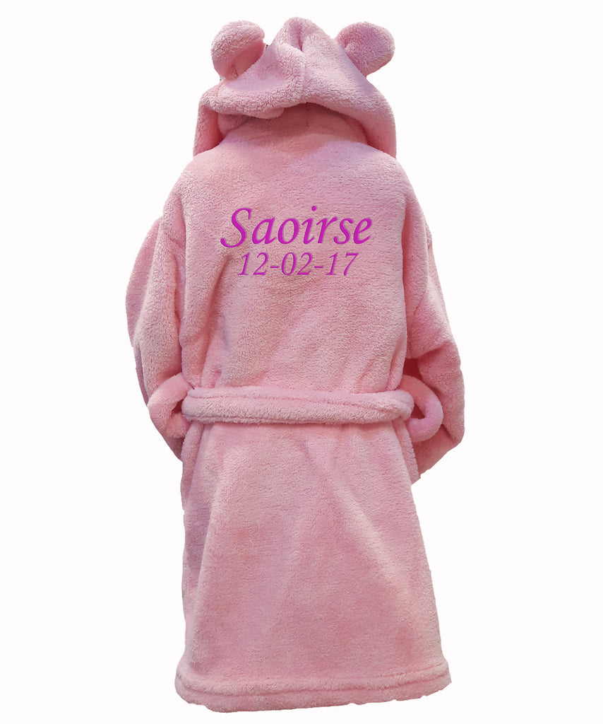 Personalised Pink Baby Bathrobe