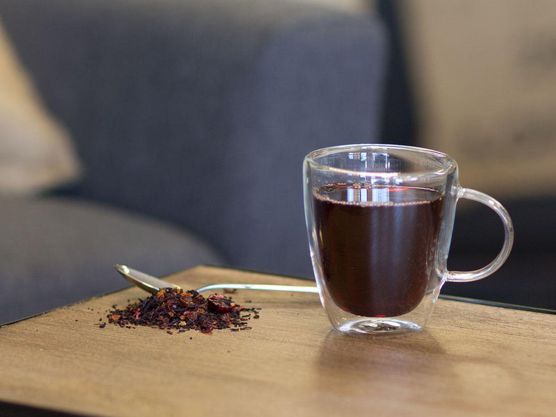 Image of Hibiscus Cranberry Cherry Tea Brewed as Hot Tea from Hackberry Tea