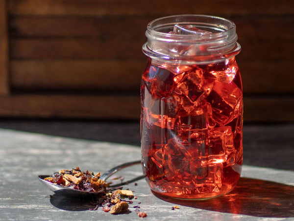 Image of Blood Orange Hibiscus Tea Brewed as Iced Tea from Hackberry Tea