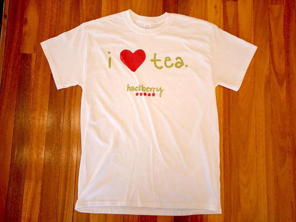 Image of I Love Tea Hackberry Tee Shirt (White) from Hackberry Tea
