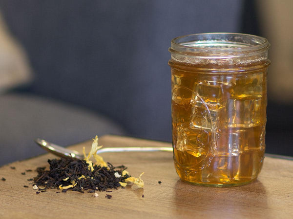 Image of Ginger Peach Black Tea Brewed as Iced Tea from Hackberry Tea