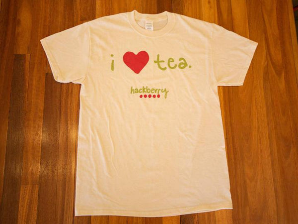Image of I Love Tea Hackberry Tee Shirt (Cream) from Hackberry Tea
