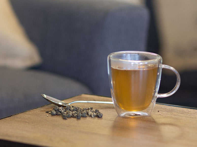 Image of Jasmine Love Pearls Tea Brewed as Hot Tea from Hackberry Tea