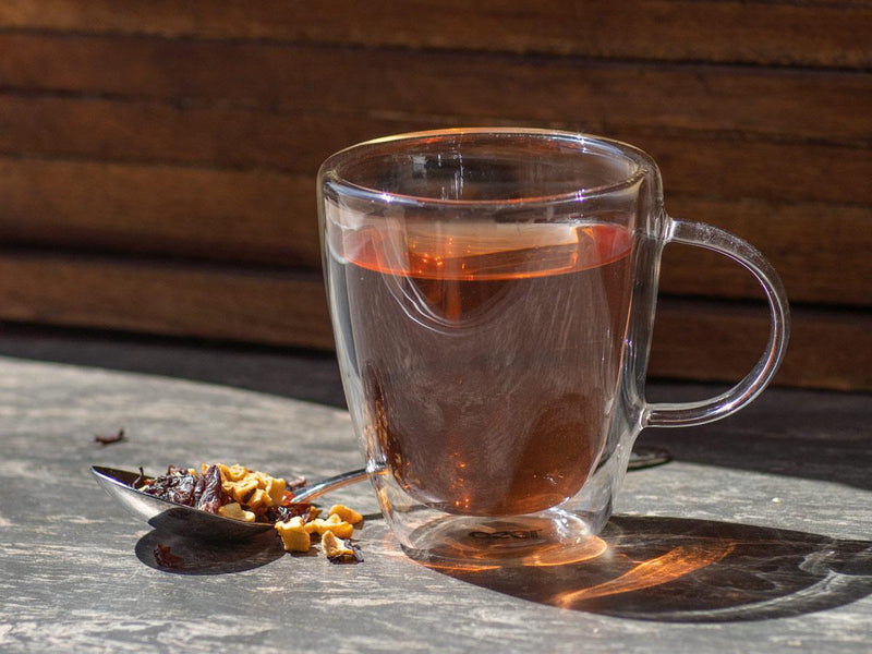 Image of Sweet Cherry Pie Tea Brewed as Hot Tea from Hackberry Tea