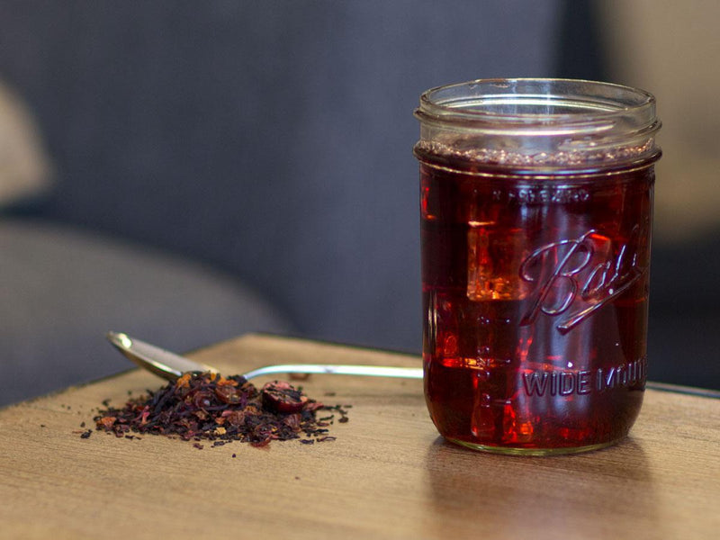 Image of Hibiscus Cranberry Cherry Tea Brewed as Iced Tea from Hackberry Tea