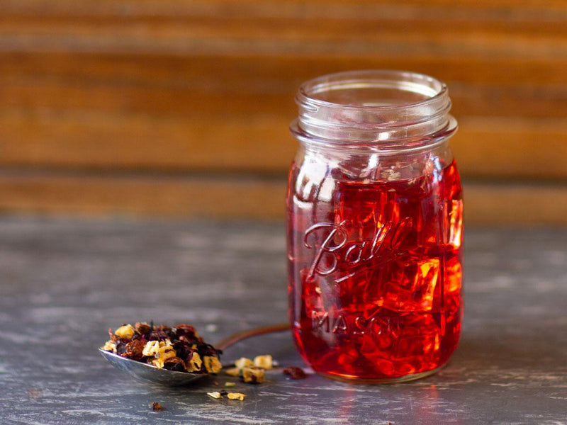 Image of Strawberry Fields Tea Brewed as Iced Tea from Hackberry Tea