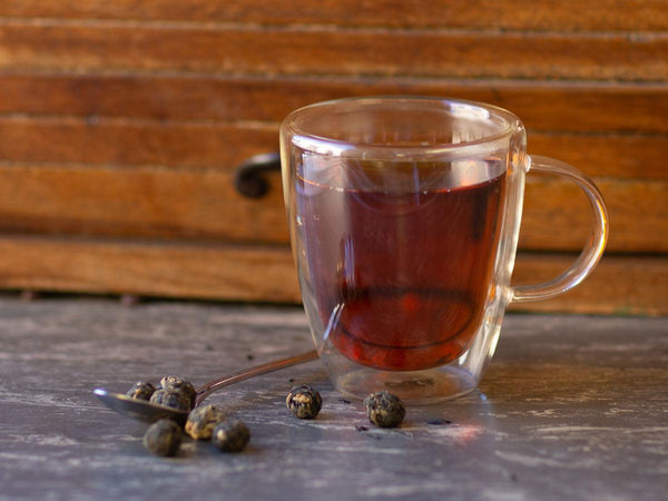 Image of Black Dragon Pearls Tea Brewed as Hot Tea from Hackberry Tea