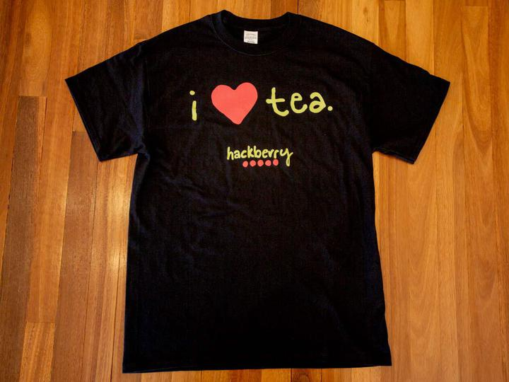 Image of I Love Tea Hackberry Tee Shirt (Black) from Hackberry Tea
