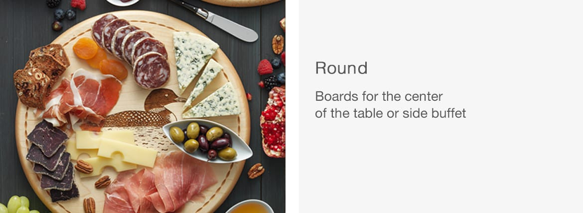 Round Bread Boards with Food